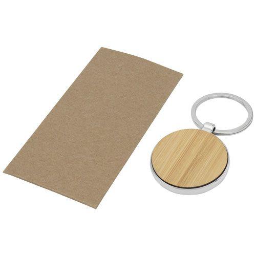 "Porta-chaves redondo em bambu ""Nino"" brindes LISBOA"