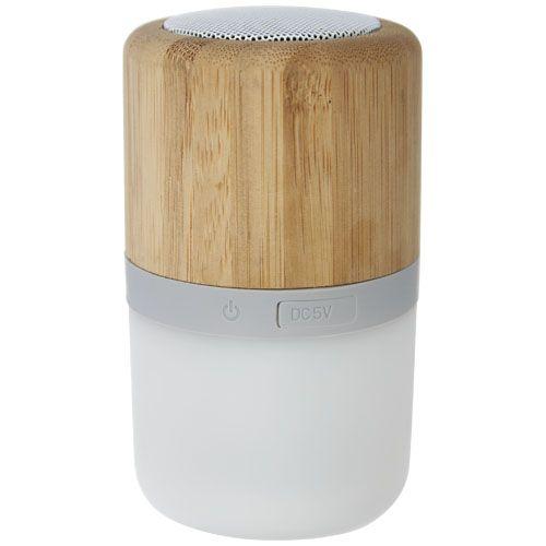 Haut-parleur Bluetooth® Aurea en bambou avec lumière par 2G Publicité