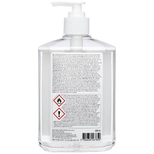 Grand flacon de gel désinfectant Be Safe, 500ml, avec distributeur par 2G Publicité