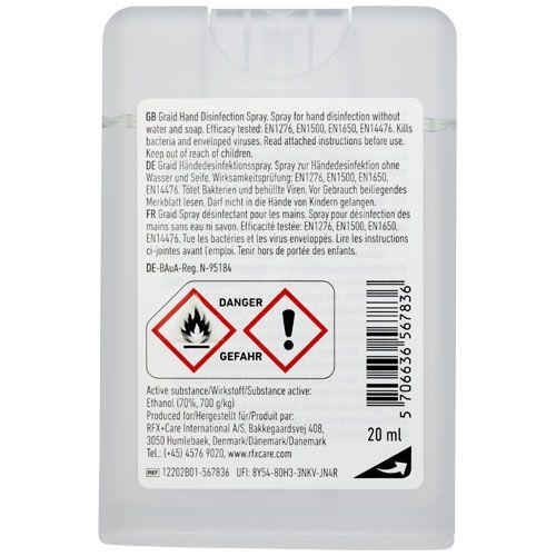 Mini flacon de spray désinfectant Be Safe, 20ml par 2G Publicité