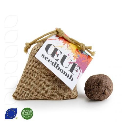 Oeuf seed bomb BIO en pochon toile de jute 75x100 mm