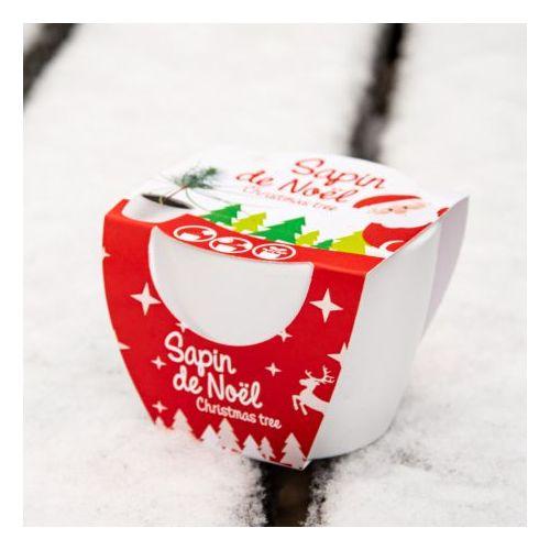 Pot céramique blanc 8 cm Sapin de Noël