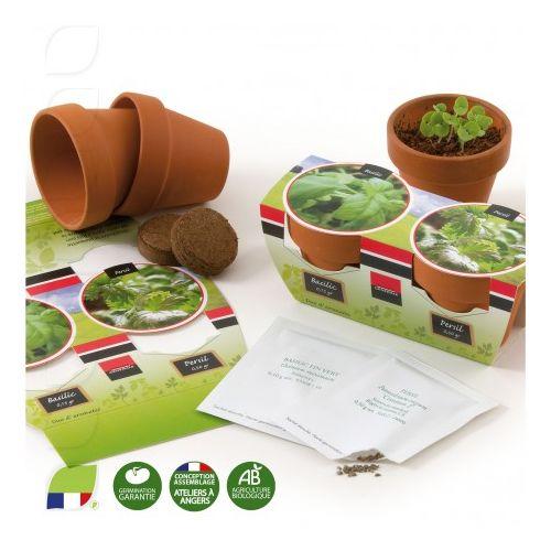 Kit de plantation 55 mm Duo de pots terre cuite avec graines à semer