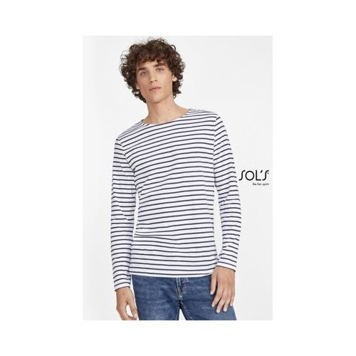 TEE-SHIRT HOMME MANCHES LONGUES RAYÉ MARINE MEN
