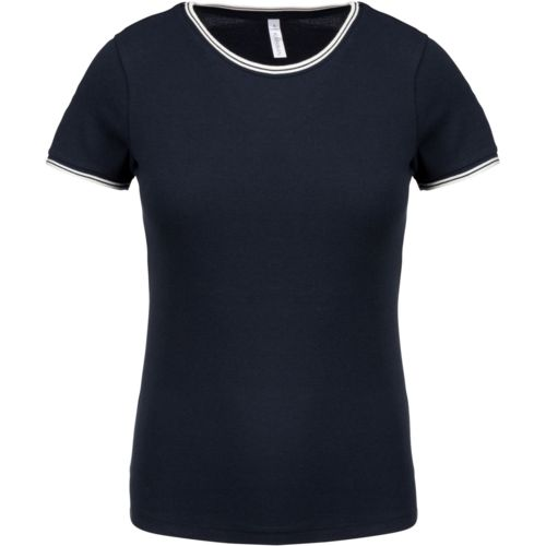 T-shirt maille piquée col rond femme