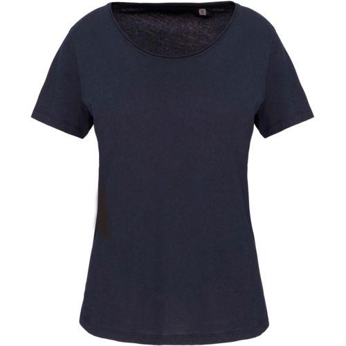 T-shirt Bio col à bords francs manches courtes femme par EG Diffusion