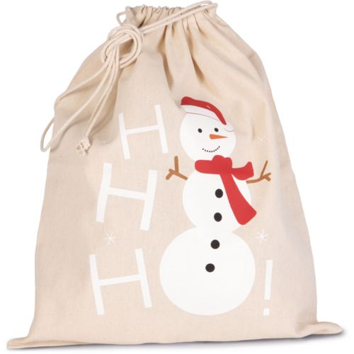 Sac coton à cordon motif bonhomme de neige