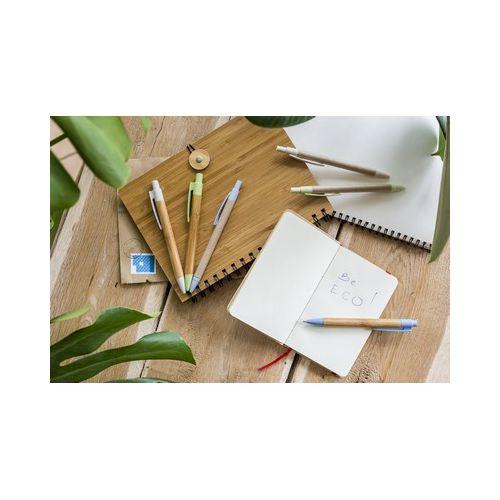 Stylo à bille avec corps en papier et détails en fibre de bambou colorée WIZ PUB