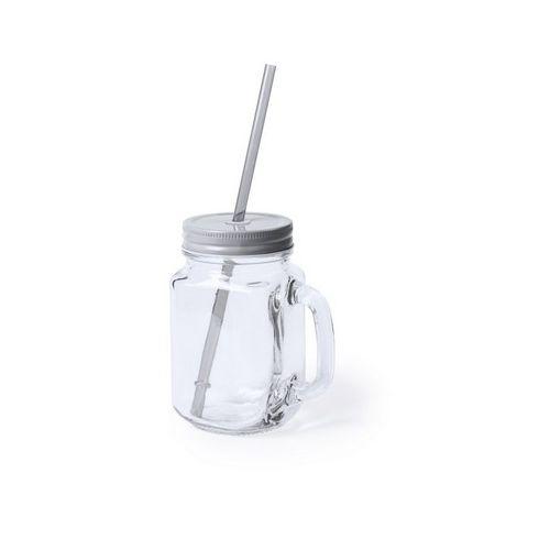 Drinking jar 500 ml with straw