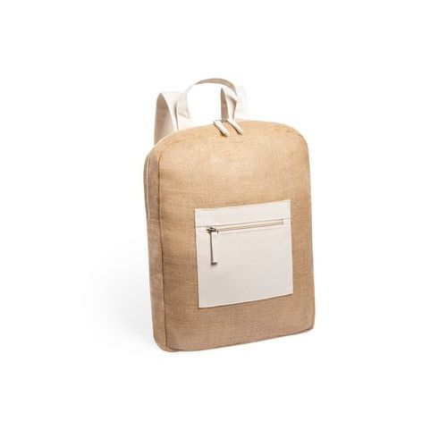 Laminated jute backpack with cotton details