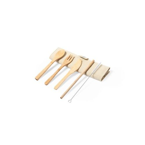 Bamboo cutlery and reusable drinking straw with cleaning blush