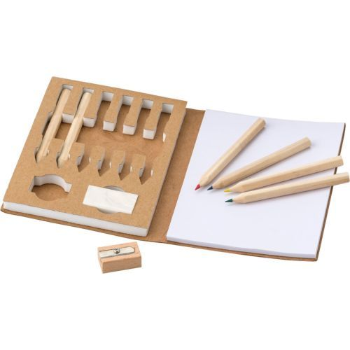 Colouring set, notebook, coloured pencils, eraser, pencil sharpener