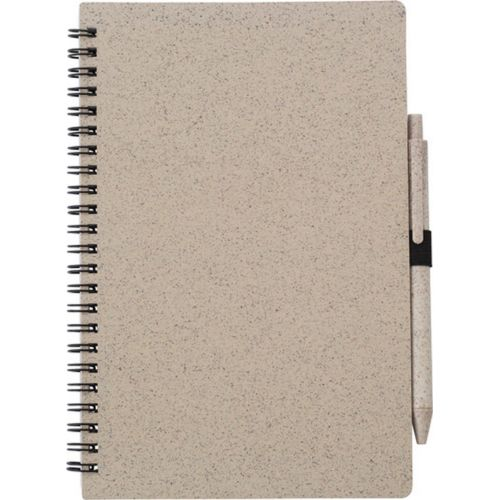 Wheat straw notebook approx. A5 with ball pen