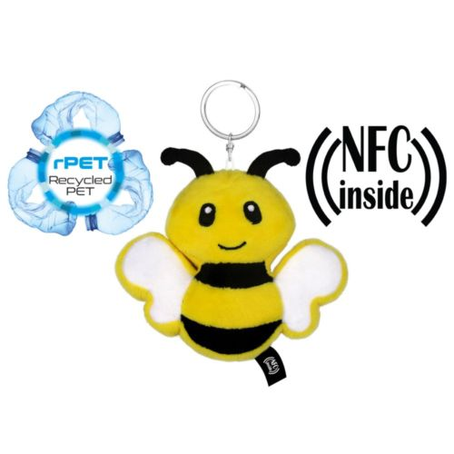 RPET plush bee with NFC chip, keyring Zibee
