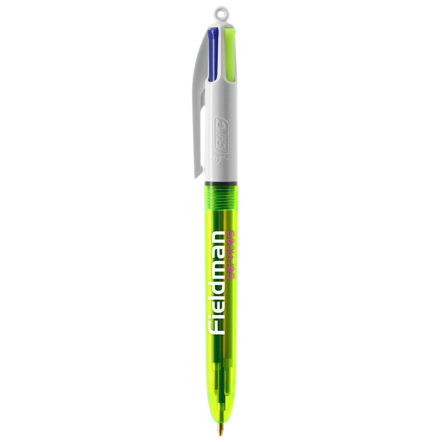 BIC® 4 Colours Fluo Bille + lanyard - ISOCOM - OBJETS ET TEXTILES PERSONNALISES - NANTES