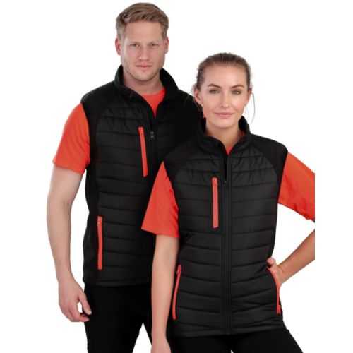 Black Compass Padded Softshell Gilet Objet Media Publicitaire