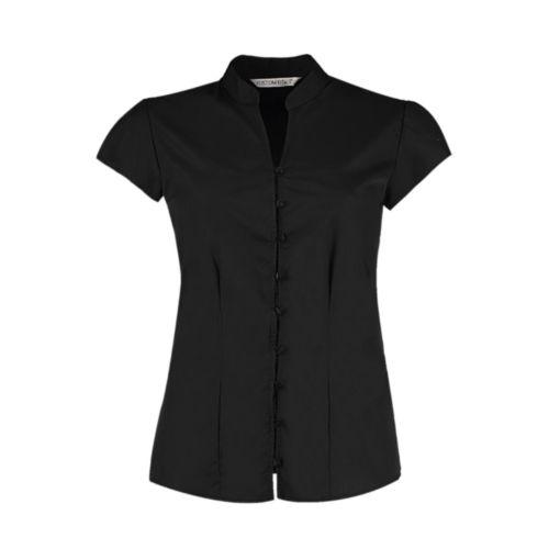 Women`s Tailored Fit Mandarin Collar Blouse SSL
