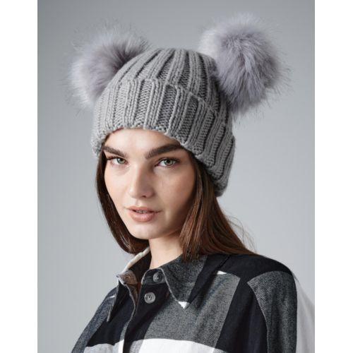 Infant/Junior Faux Fur Double Pom Pom Beanie Fashion Goodiz goodies objet personnalisé cadeaux d affaire objets publicitaires