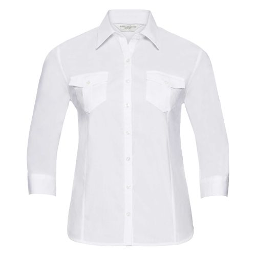 Ladies' Roll 3/4 Sleeve Fitted Twill Shirt