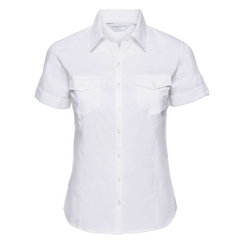 Ladies' Roll Short Sleeve Fitted Twill Shirt