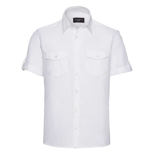 Men's Roll Short Sleeve Fitted Twill Shirt