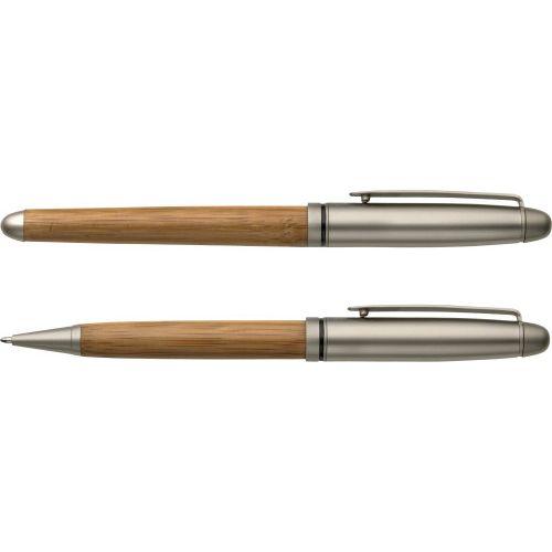 Parure de stylo bille et roller en bambou
