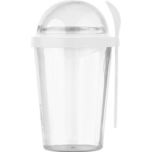 Mug avec compartiment 'céréales'.