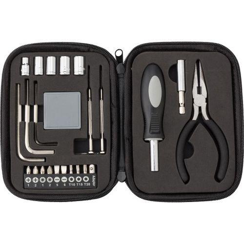 Boîte à outils de 23 pièces dans un étui zippé en PU.