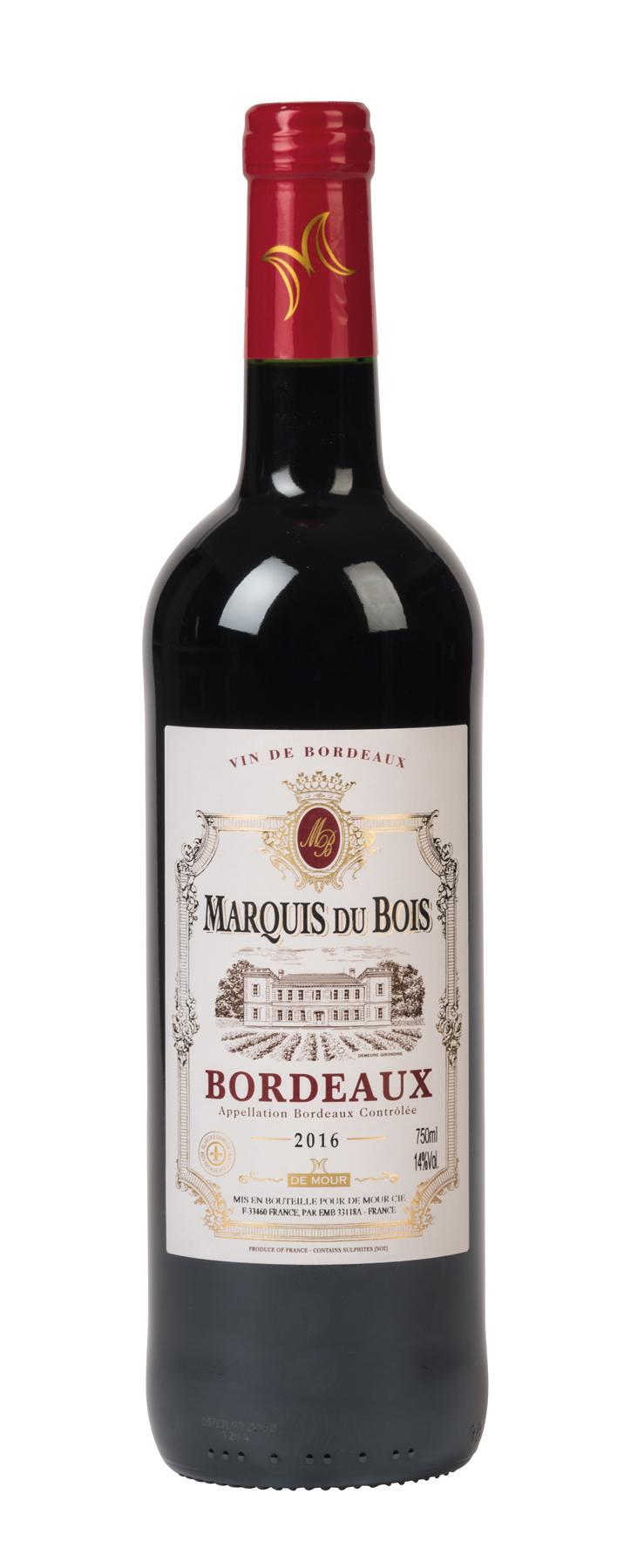 Vin rouge, 2016 MARQUIS DU BOIS – BORDEAUX par EG Diffusion 07210 BAIX Objets publicitaires et Cadeaux d'affaires Textile, PLV, Goodies, vêtement de travail, objets éco et durables , stylos , USB, multimédia