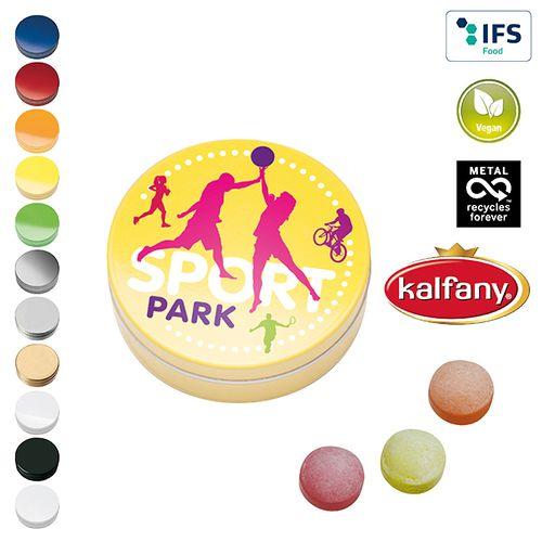 Boîte XS avec bonbons aux fruits XS Kalfany publicitaire à personnaliser aux couleurs de votre société !