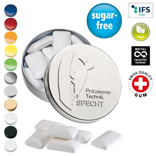 Boîte XS avec couvercle estampé avec chewing-gum