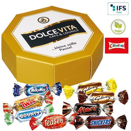 Boîte cadeau octogonale Celebrations® publicitaire à personnaliser aux couleurs de votre société !