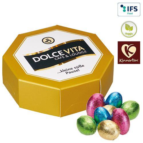 Boîte cadeau octogonale œufs chocolat