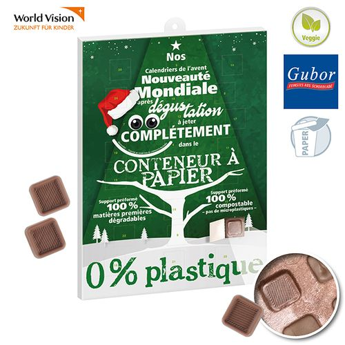 Paper Chocolate Advent Calendar FAIRTRADE & BIO AZAP  branded Personalized Printed Goodies by Azap Business Gift