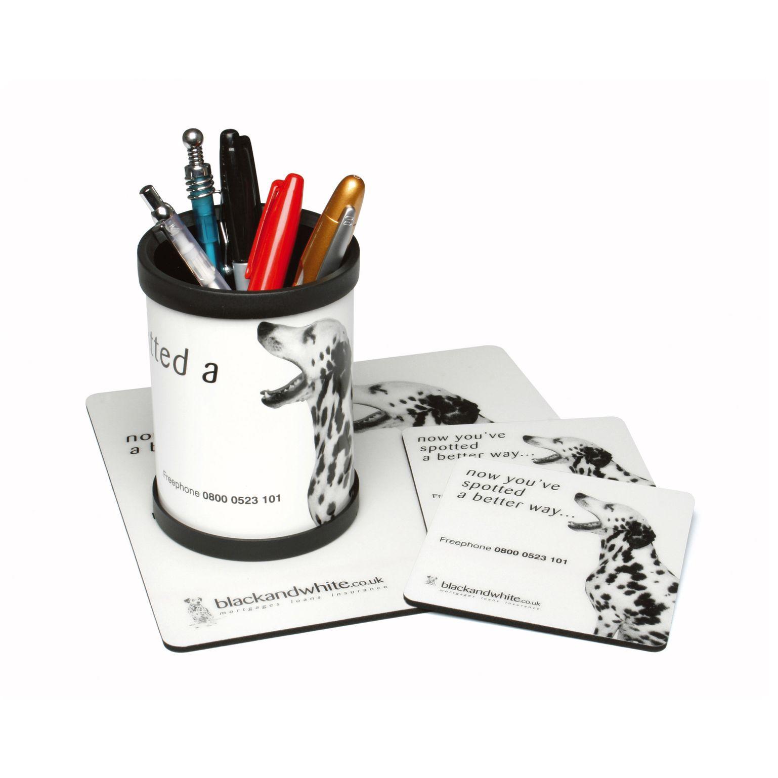 Pack tapis souris,sous verre,pot à crayons