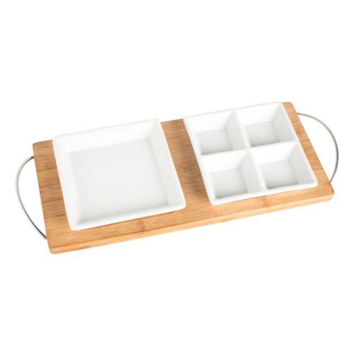 Plateau en bambou avec 2 plats de présentation REFLECTS-GETXO
