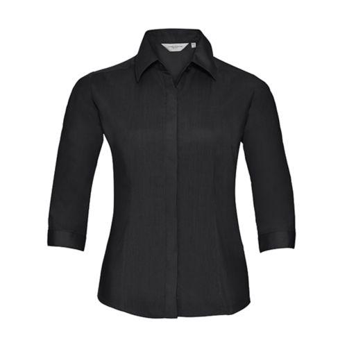 Ladies` 3/4 SleeveFitted Polycotton Poplin Shirt