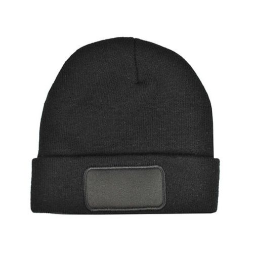Knitted Hat with Patch