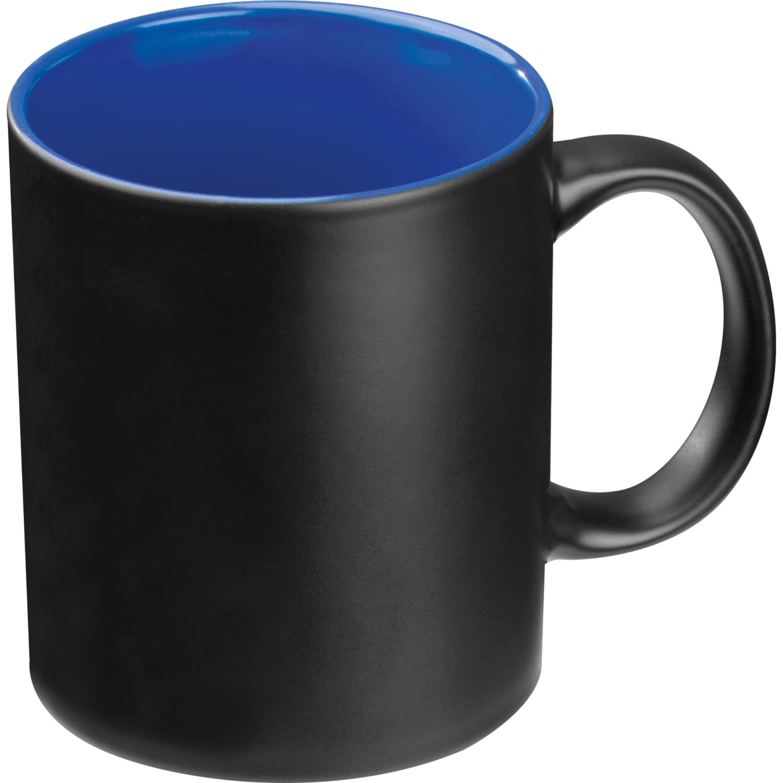 tasse avec extérieur noir et intérieur coloré