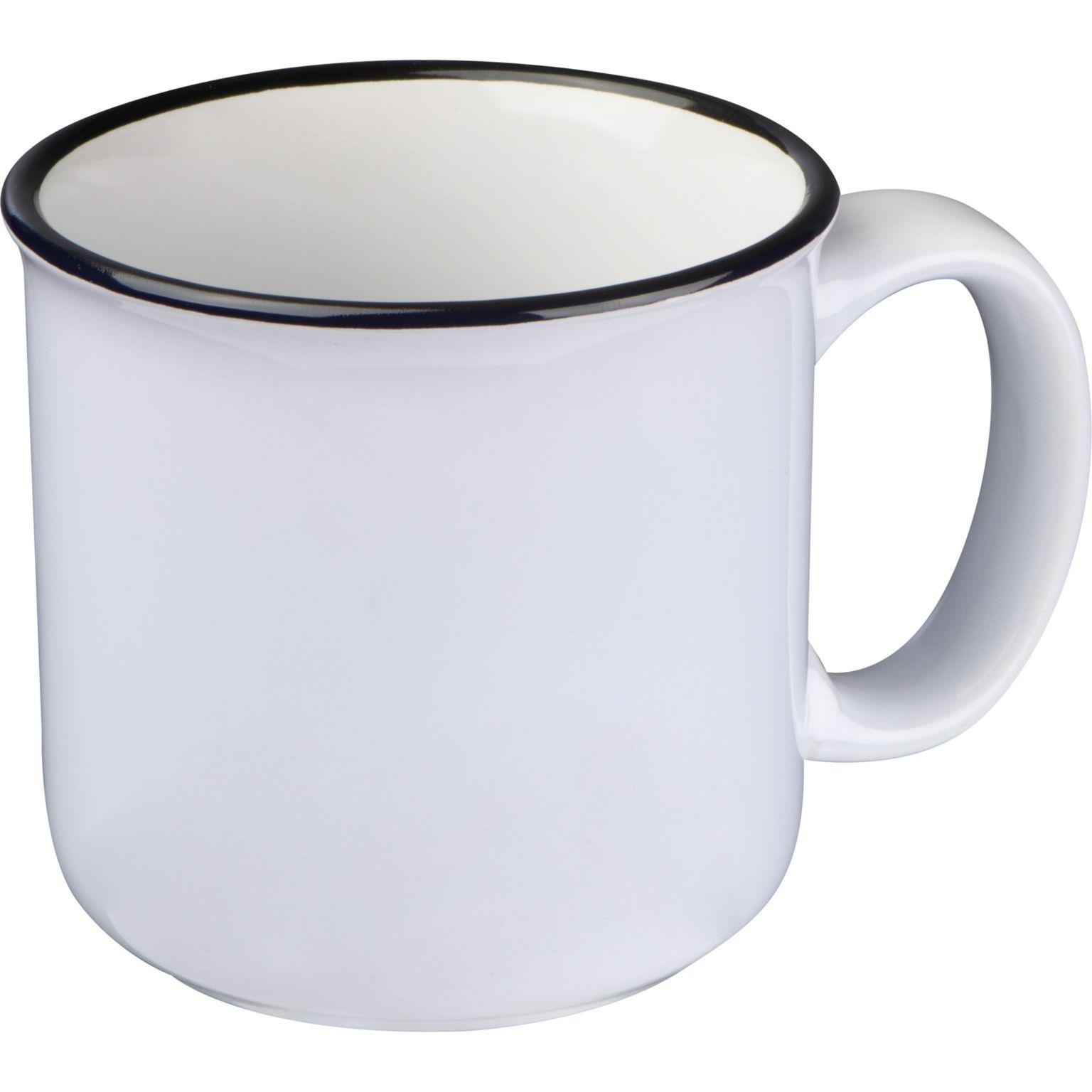 Tasse en céramique avec bord noir
