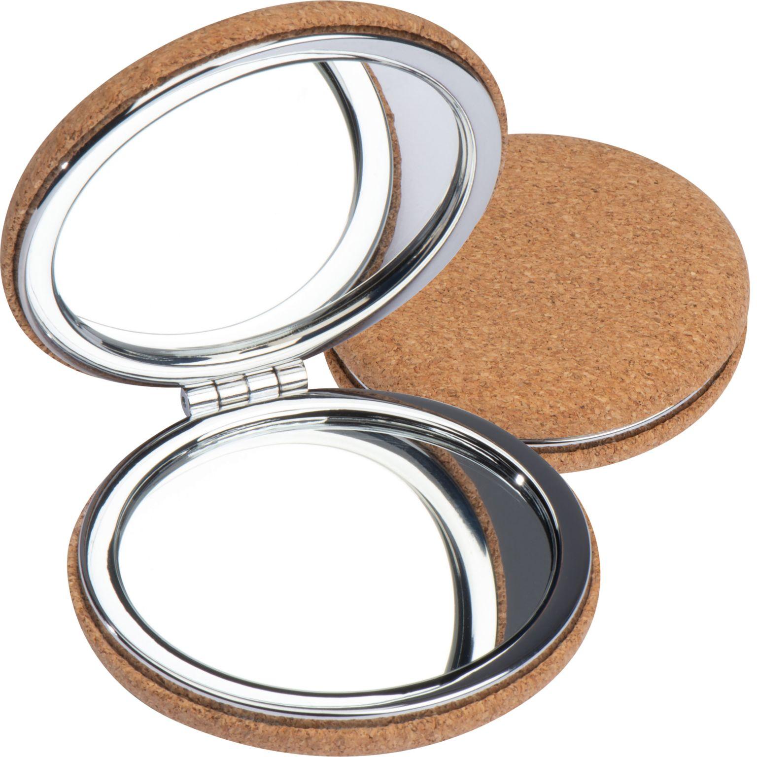 Metal double mirror with cork coating