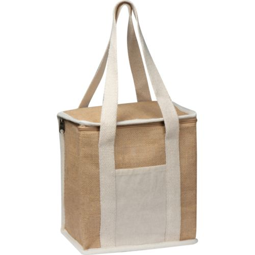 Jute cooler bag with long handles.