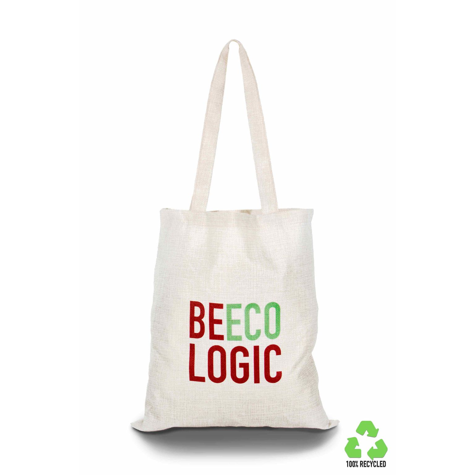 """Sac shopping en 100% polyester """"effet jute"""" recyclé RPET, Made in Italy"""