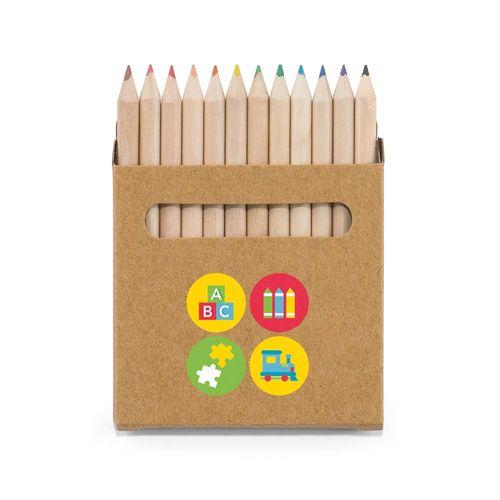COLOURED. Boîte avec 12 crayons de couleur, Objet personnalisable, comité social économique