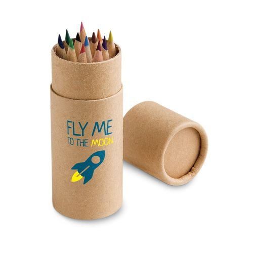 CYLINDER. Boîte avec 12 crayons de couleur, Objet personnalisable, comité social économique
