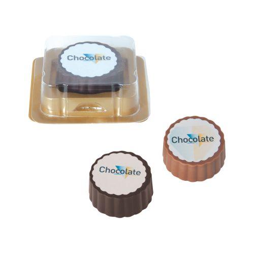 Bonbon-logo en chocolat noir ou au lait