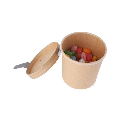 Pot de bonbons en carton kraft avec couvercle 240 ml
