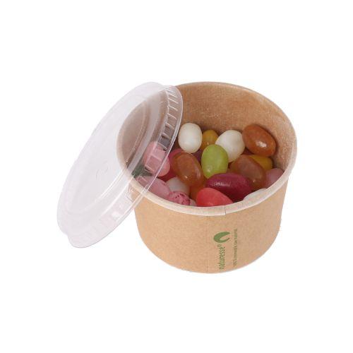 Pot de bonbons en carton kraft avec couvercle 90 ml