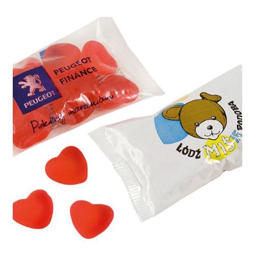 Coeurs de gomme aux fruits 40 gr. En flowpack