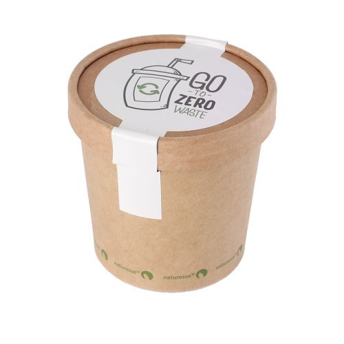 Pot de bonbons en carton kraft avec couvercle 360 ml